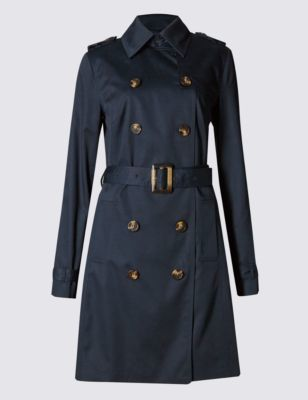 Pure Cotton Belted Trench Coat With Stormwear™ - pattern: plain; bust detail: added detail/embellishment at bust; style: trench coat; length: mid thigh; predominant colour: navy; occasions: casual, creative work; fit: tailored/fitted; fibres: cotton - 100%; collar: shirt collar/peter pan/zip with opening; waist detail: belted waist/tie at waist/drawstring; shoulder detail: discreet epaulette; sleeve length: long sleeve; sleeve style: standard; collar break: high; pattern type: fabric; texture group: woven light midweight; season: s/s 2016; trends: transitional must-haves