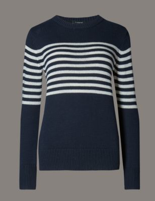 Cotton Rich Striped Jumper - neckline: round neck; pattern: horizontal stripes; style: standard; secondary colour: white; predominant colour: navy; occasions: casual, creative work; length: standard; fibres: cotton - mix; fit: slim fit; sleeve length: long sleeve; sleeve style: standard; texture group: knits/crochet; pattern type: knitted - fine stitch; pattern size: light/subtle; season: s/s 2016; wardrobe: highlight