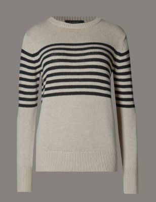 Cotton Rich Striped Jumper - neckline: round neck; pattern: horizontal stripes; style: standard; predominant colour: ivory/cream; secondary colour: black; occasions: casual, creative work; length: standard; fibres: cotton - mix; fit: standard fit; sleeve length: long sleeve; sleeve style: standard; texture group: knits/crochet; pattern type: knitted - fine stitch; pattern size: light/subtle; season: s/s 2016; wardrobe: highlight