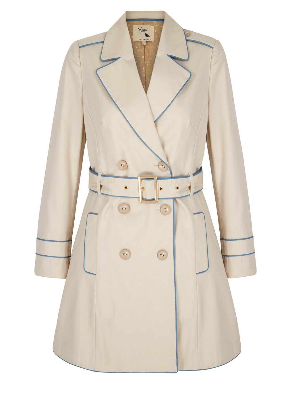 Contrast Trench Coat, Stone - pattern: plain; style: trench coat; collar: standard lapel/rever collar; length: mid thigh; predominant colour: stone; occasions: work; fit: tailored/fitted; fibres: cotton - 100%; waist detail: belted waist/tie at waist/drawstring; sleeve length: long sleeve; sleeve style: standard; texture group: cotton feel fabrics; collar break: medium; pattern type: fabric; season: a/w 2015