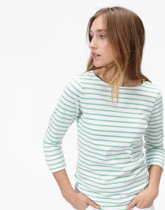 Harbour Jersey Top Spring Green Stripe - neckline: round neck; pattern: horizontal stripes; predominant colour: white; secondary colour: mint green; occasions: casual; length: standard; style: top; fibres: cotton - mix; fit: body skimming; sleeve length: 3/4 length; sleeve style: standard; pattern type: fabric; texture group: jersey - stretchy/drapey; multicoloured: multicoloured; season: a/w 2015; wardrobe: highlight