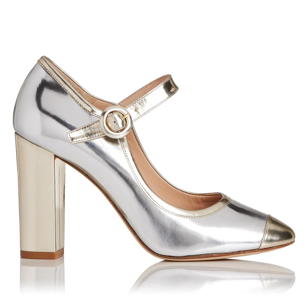 Marla Metallic Mary Jane Block Heels - predominant colour: silver; occasions: evening, occasion; material: leather; heel: block; toe: pointed toe; style: mary janes; finish: metallic; pattern: plain; heel height: very high; season: a/w 2015; wardrobe: event