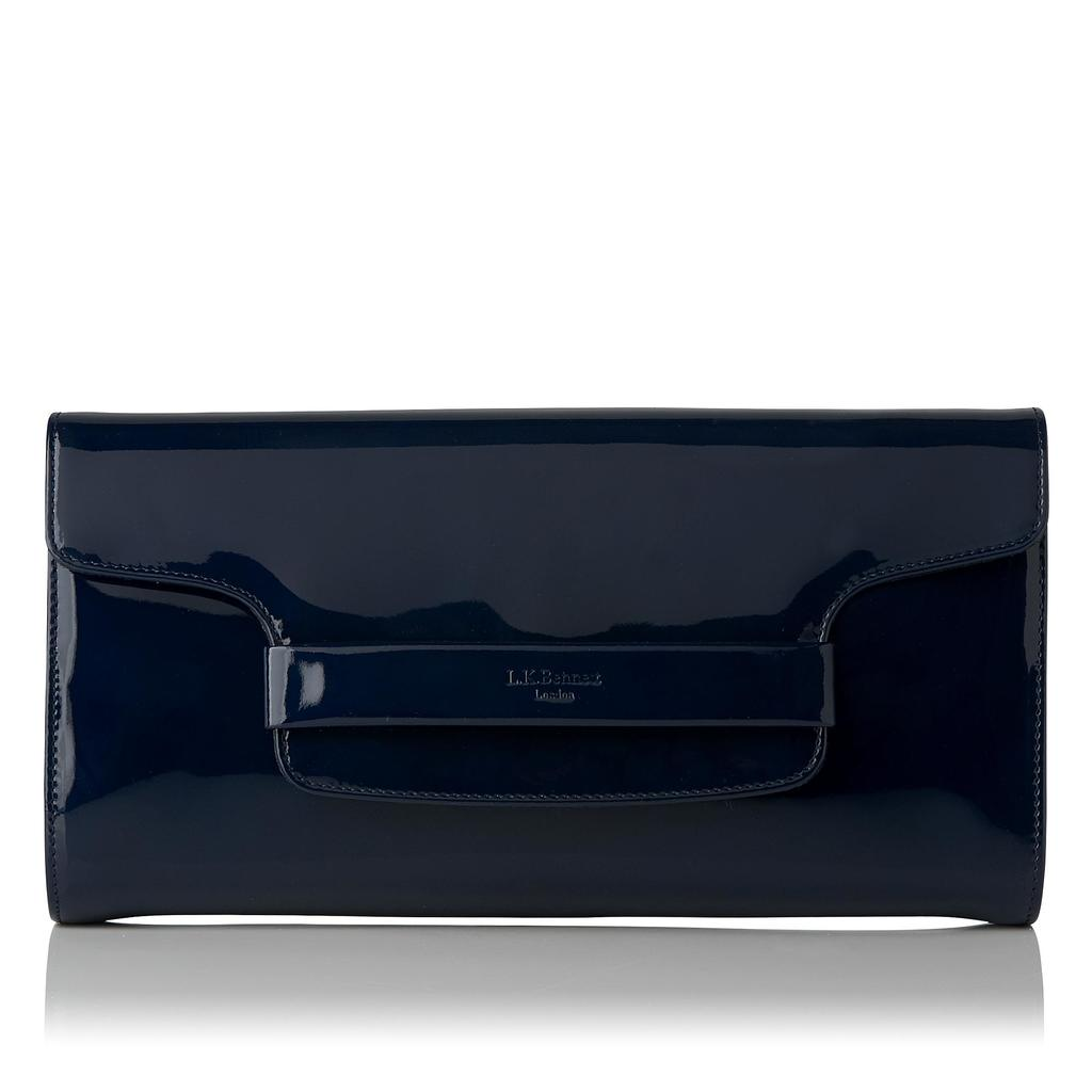 Laura Navy Patent Clutch Bag - predominant colour: navy; occasions: evening, occasion; type of pattern: standard; style: clutch; length: hand carry; size: small; material: leather; pattern: plain; finish: plain; season: a/w 2015; wardrobe: event