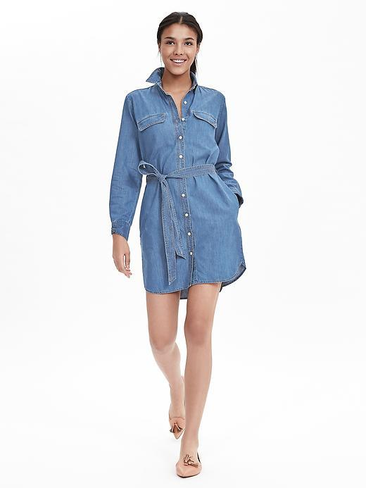Denim Shirtdress Dark Wash - style: shirt; length: mid thigh; neckline: shirt collar/peter pan/zip with opening; fit: fitted at waist; pattern: plain; waist detail: belted waist/tie at waist/drawstring; predominant colour: denim; occasions: casual, creative work; fibres: cotton - stretch; sleeve length: long sleeve; sleeve style: standard; texture group: denim; pattern type: fabric; season: a/w 2015; wardrobe: basic