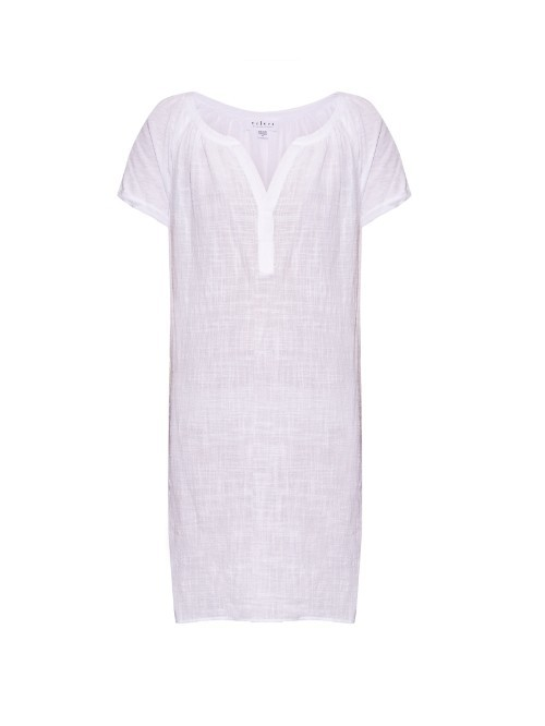 Alixe Short Sleeved Dress - style: tunic; neckline: v-neck; sleeve style: raglan; pattern: checked/gingham; predominant colour: white; occasions: casual; length: just above the knee; fit: straight cut; fibres: cotton - 100%; sleeve length: short sleeve; pattern type: fabric; pattern size: light/subtle; texture group: jersey - stretchy/drapey; season: a/w 2015; wardrobe: highlight