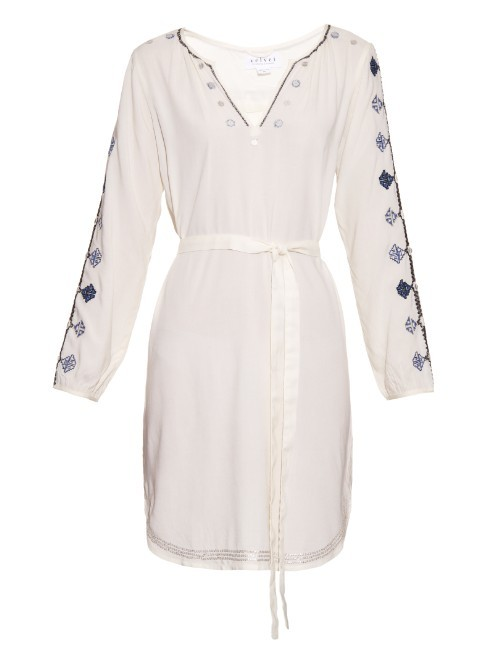 Belton Tibetan Embroidered Dress - style: tunic; neckline: v-neck; waist detail: belted waist/tie at waist/drawstring; secondary colour: white; predominant colour: ivory/cream; occasions: casual; length: just above the knee; fit: body skimming; fibres: viscose/rayon - 100%; sleeve length: long sleeve; sleeve style: standard; pattern type: fabric; pattern size: standard; pattern: patterned/print; texture group: other - light to midweight; embellishment: embroidered; season: a/w 2015; wardrobe: highlight; embellishment location: bust, sleeve/cuff