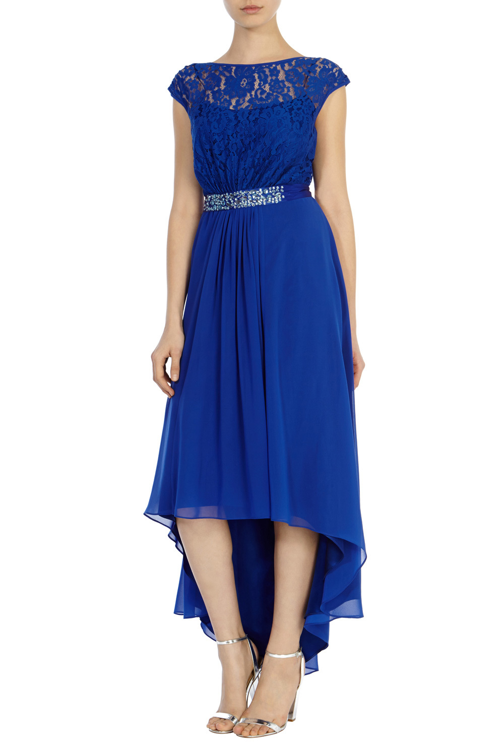 Lori Lee Lace Hi Low Dress - length: below the knee; neckline: slash/boat neckline; sleeve style: capped; pattern: plain; predominant colour: royal blue; fit: soft a-line; style: asymmetric (hem); fibres: polyester/polyamide - 100%; occasions: occasion; back detail: keyhole/peephole detail at back; sleeve length: short sleeve; texture group: sheer fabrics/chiffon/organza etc.; pattern type: fabric; embellishment: lace; secondary colour: clear; season: a/w 2015; wardrobe: event; embellishment location: waist