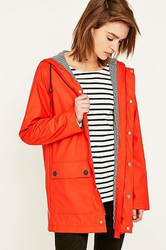 Red Anorak, Red - pattern: plain; collar: funnel; fit: loose; style: mac; back detail: hood; length: mid thigh; predominant colour: true red; secondary colour: mid grey; occasions: casual; fibres: polyester/polyamide - mix; sleeve length: long sleeve; sleeve style: standard; texture group: technical outdoor fabrics; collar break: high; pattern type: fabric; season: a/w 2015; wardrobe: highlight