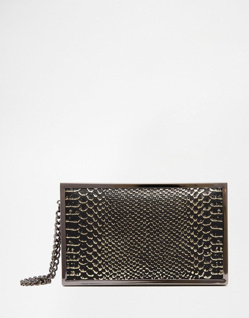 Snake Effect Clutch Bag Black - predominant colour: black; occasions: evening, occasion; type of pattern: standard; style: clutch; length: hand carry; size: small; material: faux leather; pattern: animal print; finish: plain; season: a/w 2015