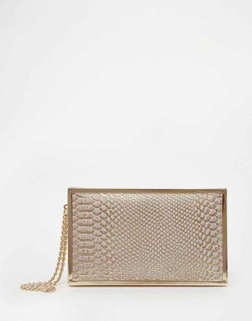 Snake Effect Clutch Bag Cream - predominant colour: gold; occasions: evening, occasion; type of pattern: standard; style: clutch; length: hand carry; size: small; material: faux leather; pattern: animal print; finish: metallic; embellishment: chain/metal; season: a/w 2015; wardrobe: event
