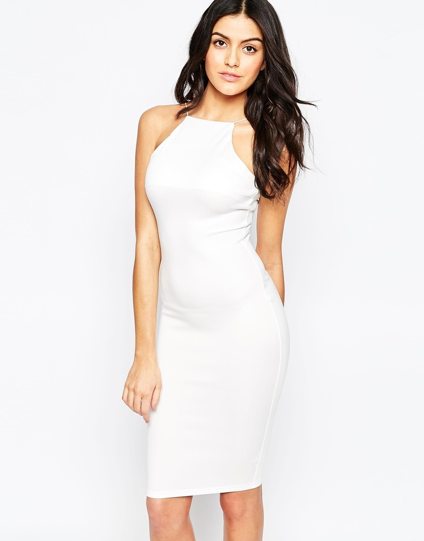 Cut In Midi Cami Dress Cream - fit: tight; pattern: plain; sleeve style: sleeveless; style: bodycon; predominant colour: white; occasions: evening; length: just above the knee; fibres: polyester/polyamide - stretch; neckline: crew; sleeve length: sleeveless; texture group: jersey - clingy; pattern type: fabric; season: a/w 2015; wardrobe: event