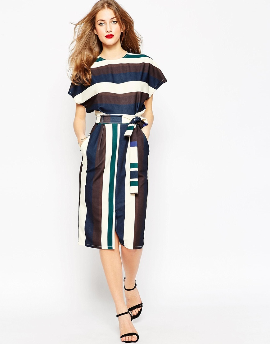 Belted Dress In Mixed Colour Stripe Stripe - style: shift; length: below the knee; sleeve style: dolman/batwing; fit: fitted at waist; waist detail: belted waist/tie at waist/drawstring; predominant colour: navy; secondary colour: chocolate brown; occasions: evening, creative work; fibres: polyester/polyamide - 100%; neckline: crew; sleeve length: short sleeve; pattern type: fabric; pattern size: big & busy; pattern: patterned/print; texture group: woven light midweight; multicoloured: multicoloured; season: a/w 2015; wardrobe: highlight