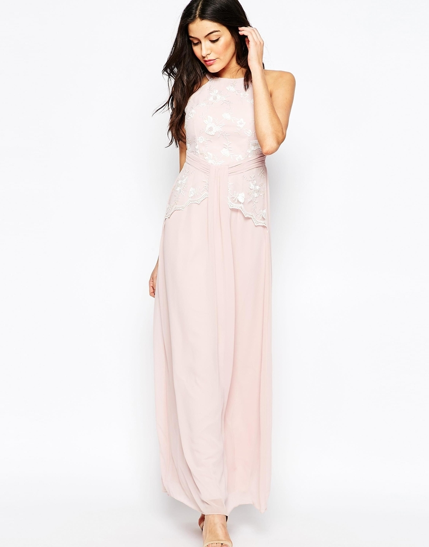 Maxi Dress With Floral Embroidery Rose - neckline: round neck; pattern: plain; sleeve style: sleeveless; style: maxi dress; length: ankle length; bust detail: added detail/embellishment at bust; predominant colour: blush; fit: body skimming; fibres: polyester/polyamide - 100%; occasions: occasion; hip detail: soft pleats at hip/draping at hip/flared at hip; sleeve length: sleeveless; texture group: sheer fabrics/chiffon/organza etc.; pattern type: fabric; embellishment: embroidered; season: a/w 2015; wardrobe: event