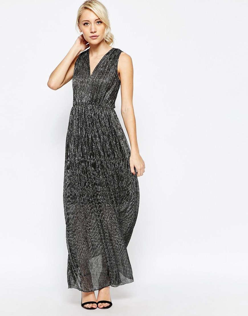 Pleated Maxi Dress Black/Silver - neckline: low v-neck; pattern: plain; sleeve style: sleeveless; style: maxi dress; length: ankle length; secondary colour: silver; predominant colour: black; occasions: evening; fit: fitted at waist & bust; fibres: polyester/polyamide - 100%; hip detail: subtle/flattering hip detail; sleeve length: sleeveless; texture group: sheer fabrics/chiffon/organza etc.; pattern type: fabric; embellishment: glitter; season: a/w 2015; wardrobe: event