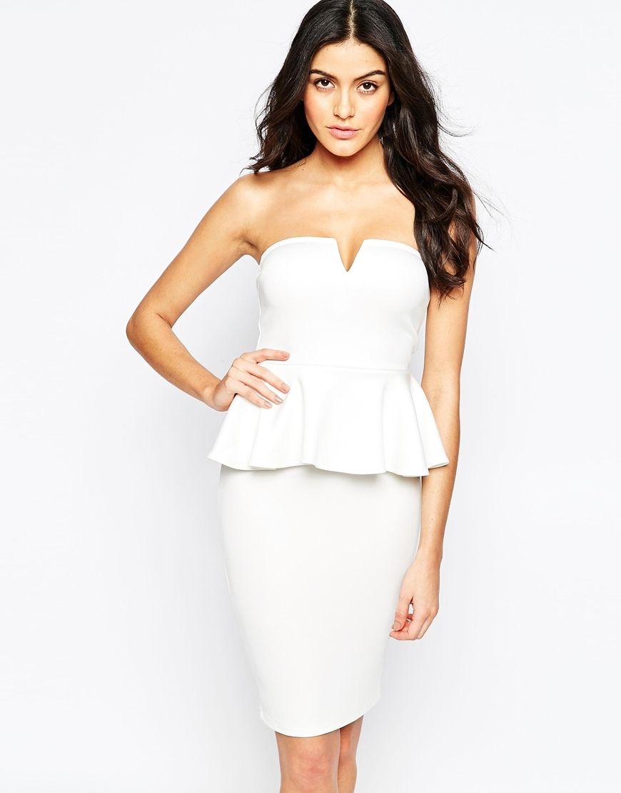 Bandeau Peplum Midi Dress Cream - style: shift; neckline: strapless (straight/sweetheart); fit: tailored/fitted; pattern: plain; sleeve style: strapless; waist detail: peplum waist detail; predominant colour: ivory/cream; occasions: evening, occasion; length: just above the knee; fibres: polyester/polyamide - stretch; sleeve length: sleeveless; pattern type: fabric; texture group: other - light to midweight; season: a/w 2015
