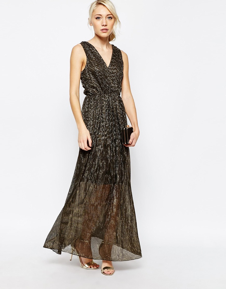 Pleated Maxi Dress Black/Gold - neckline: low v-neck; fit: fitted at waist; sleeve style: sleeveless; style: maxi dress; length: ankle length; waist detail: fitted waist; secondary colour: gold; predominant colour: black; occasions: evening; fibres: polyester/polyamide - mix; sleeve length: sleeveless; texture group: sheer fabrics/chiffon/organza etc.; pattern type: fabric; pattern size: standard; pattern: patterned/print; season: a/w 2015; wardrobe: event
