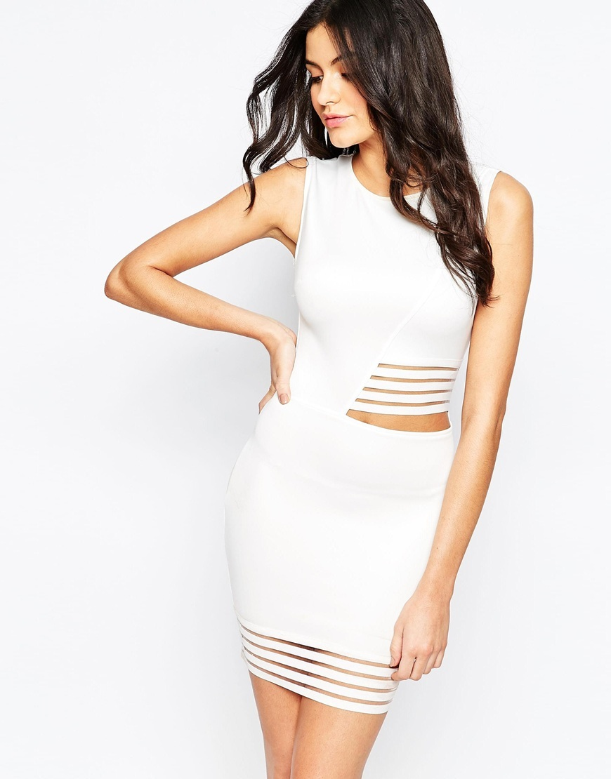 Bodycon Dress With Stripe Mesh Cream - length: mid thigh; fit: tight; pattern: plain; sleeve style: sleeveless; style: bodycon; predominant colour: white; occasions: evening; fibres: polyester/polyamide - stretch; neckline: crew; waist detail: cut out detail; sleeve length: sleeveless; texture group: jersey - clingy; pattern type: fabric; season: a/w 2015; wardrobe: event