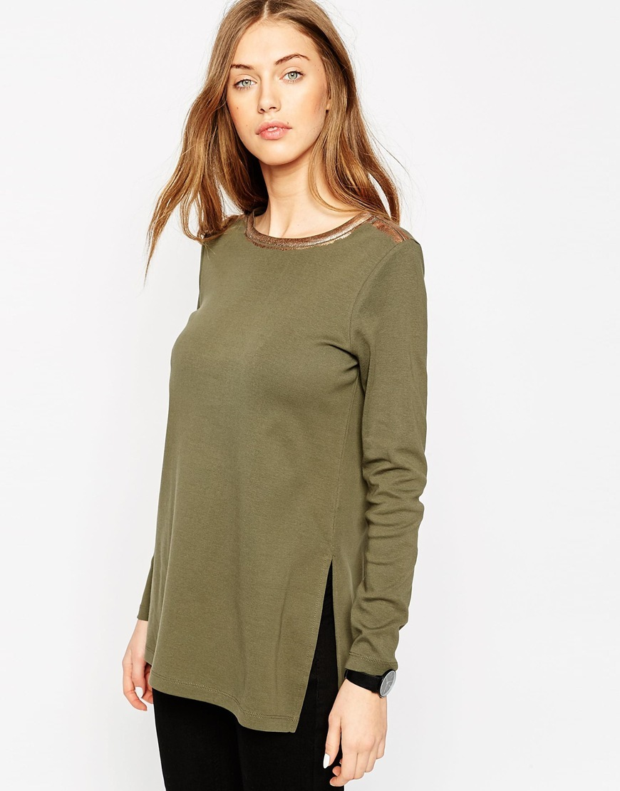 Split Side Longline Rib Tunic With Metallic Tip Khaki - pattern: plain; length: below the bottom; style: tunic; predominant colour: khaki; occasions: casual; fibres: cotton - 100%; fit: body skimming; neckline: crew; hip detail: slits at hip; sleeve length: long sleeve; sleeve style: standard; pattern type: fabric; texture group: jersey - stretchy/drapey; season: a/w 2015