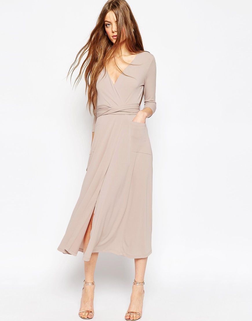 Crepe Wrap Midi Dress Nude - style: faux wrap/wrap; length: calf length; neckline: low v-neck; pattern: plain; predominant colour: stone; occasions: evening; fit: body skimming; fibres: polyester/polyamide - stretch; sleeve length: long sleeve; sleeve style: standard; pattern type: fabric; texture group: jersey - stretchy/drapey; season: a/w 2015; wardrobe: event