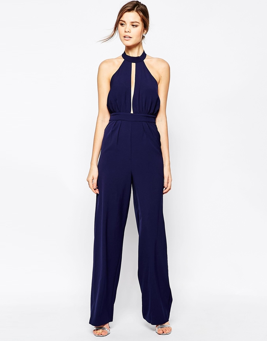 Jojo Jumpsuit Navy - length: standard; fit: tailored/fitted; pattern: plain; sleeve style: sleeveless; predominant colour: navy; occasions: evening, occasion; neckline: peep hole neckline; fibres: polyester/polyamide - mix; sleeve length: sleeveless; texture group: crepes; style: jumpsuit; pattern type: fabric; season: a/w 2015