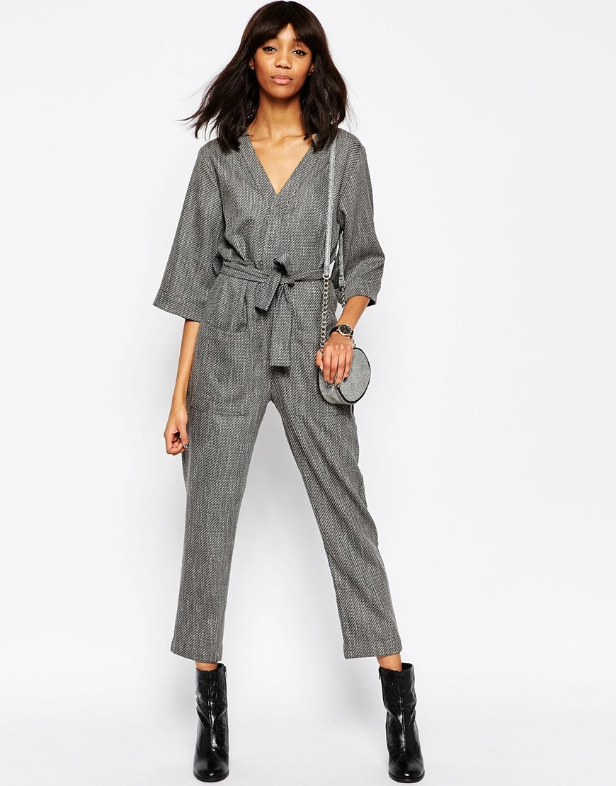 Slouchy Jumpsuit In Texture Grey - neckline: v-neck; pattern: plain; waist detail: belted waist/tie at waist/drawstring; predominant colour: mid grey; occasions: evening; length: calf length; fit: body skimming; fibres: polyester/polyamide - stretch; sleeve length: 3/4 length; sleeve style: standard; style: jumpsuit; pattern type: fabric; texture group: other - light to midweight; season: a/w 2015; wardrobe: event