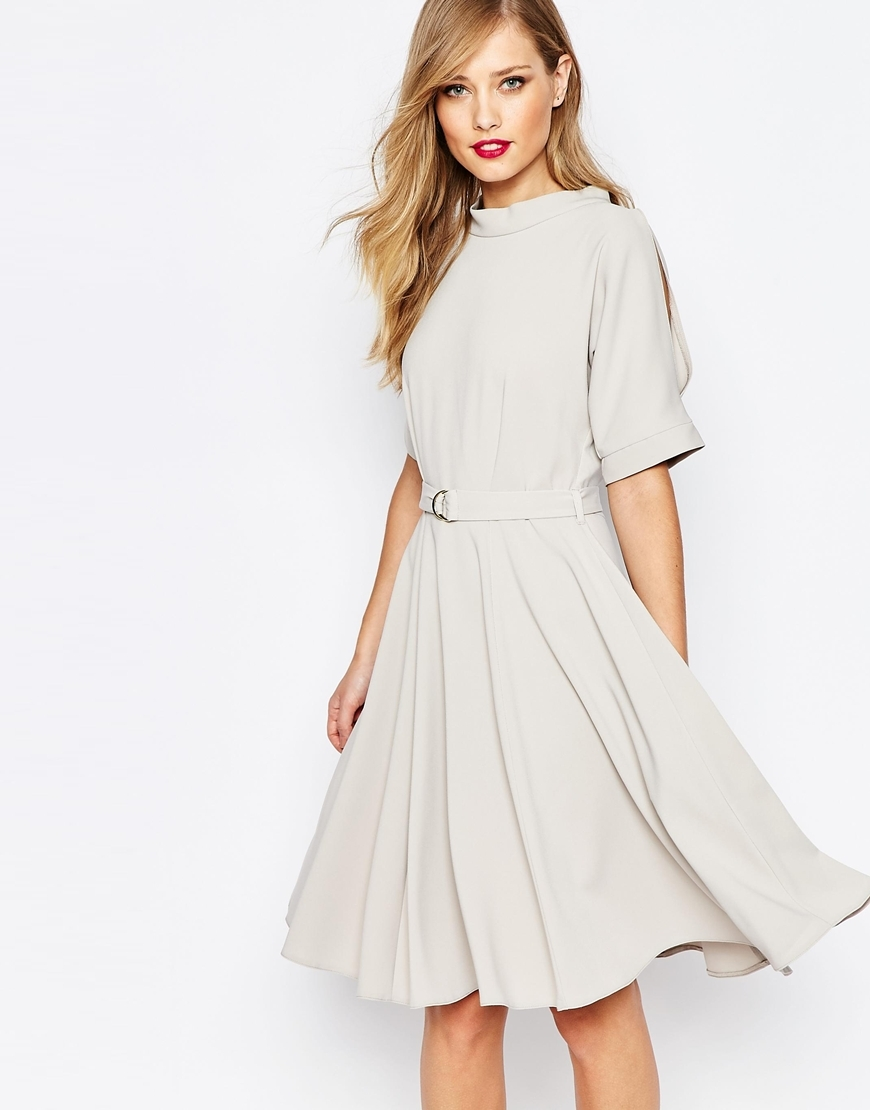 Closet Midi Skater Dress With D Belt Grey - length: below the knee; pattern: plain; neckline: high neck; waist detail: belted waist/tie at waist/drawstring; predominant colour: light grey; occasions: evening, occasion; fit: fitted at waist & bust; style: fit & flare; fibres: polyester/polyamide - stretch; sleeve length: half sleeve; sleeve style: standard; pattern type: fabric; texture group: jersey - stretchy/drapey; season: a/w 2015; wardrobe: event