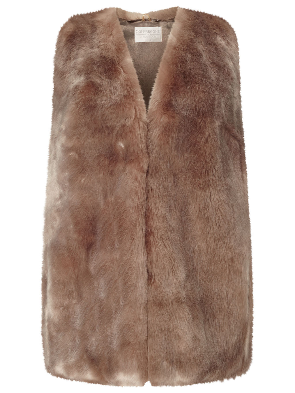 Faux Fur Gilet - pattern: plain; sleeve style: sleeveless; style: gilet; collar: round collar/collarless; fit: slim fit; predominant colour: camel; occasions: casual, creative work; length: standard; fibres: acrylic - 100%; sleeve length: sleeveless; texture group: fur; collar break: medium; pattern type: fabric; season: s/s 2016; wardrobe: highlight