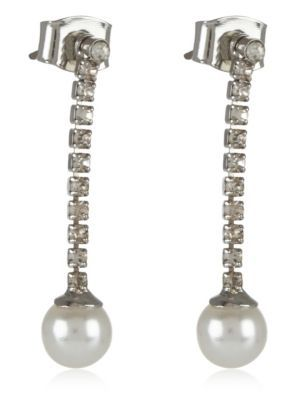 Pearl Effect Diamanté Stick Drop Earrings - predominant colour: silver; occasions: evening, occasion; style: drop; length: long; size: standard; material: chain/metal; fastening: pierced; finish: metallic; embellishment: pearls; season: s/s 2016; wardrobe: event