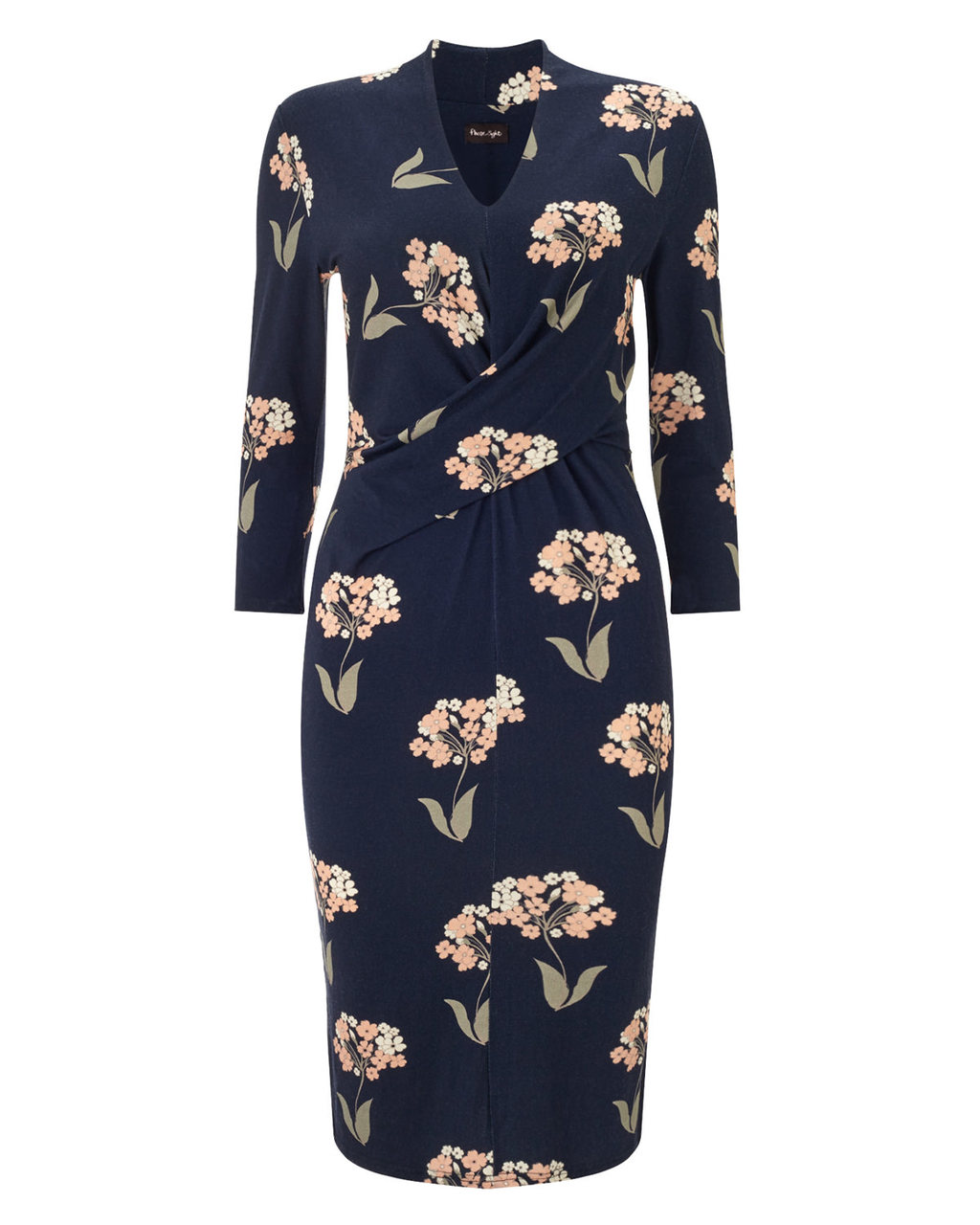 Monica Print Dress - style: shift; neckline: v-neck; fit: tight; predominant colour: navy; secondary colour: nude; length: on the knee; fibres: viscose/rayon - stretch; occasions: occasion; sleeve length: long sleeve; sleeve style: standard; pattern type: fabric; pattern size: standard; pattern: florals; texture group: jersey - stretchy/drapey; multicoloured: multicoloured; season: a/w 2015; wardrobe: event