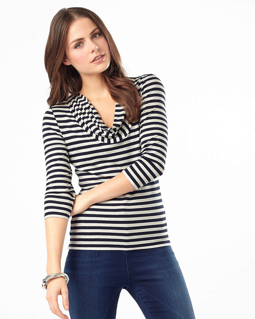 Carrie Stripe Top - neckline: cowl/draped neck; pattern: horizontal stripes; predominant colour: black; occasions: casual, creative work; length: standard; style: top; fibres: cotton - stretch; fit: tight; sleeve length: 3/4 length; sleeve style: standard; texture group: jersey - clingy; pattern type: fabric; pattern size: big & busy (top); season: a/w 2015; wardrobe: basic