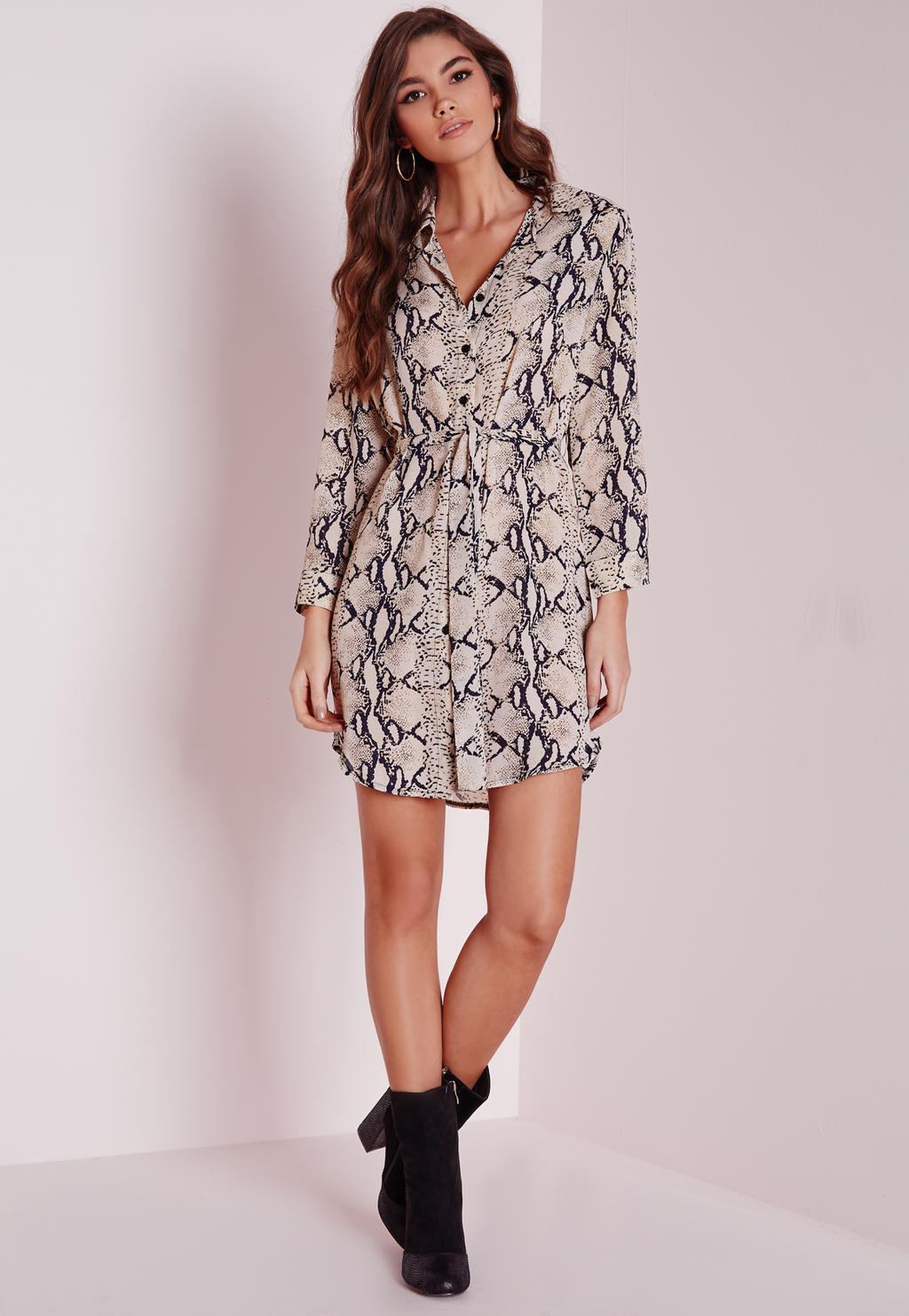 Long Sleeve Snakeskin Shirt Dress Stone, Grey - style: shirt; length: mid thigh; neckline: shirt collar/peter pan/zip with opening; waist detail: belted waist/tie at waist/drawstring; predominant colour: stone; secondary colour: mid grey; occasions: casual; fit: body skimming; fibres: polyester/polyamide - stretch; sleeve length: long sleeve; sleeve style: standard; pattern type: fabric; pattern: animal print; texture group: woven light midweight; multicoloured: multicoloured; season: a/w 2015