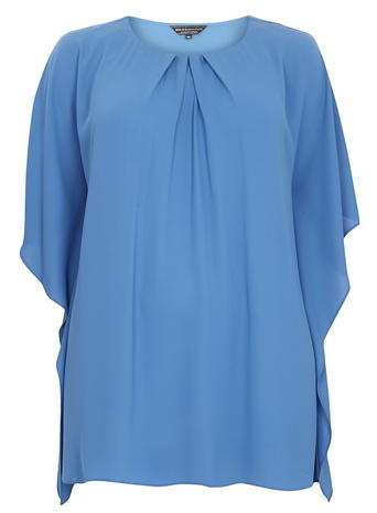 Womens **Billie & Blossom Curve Blue Flutter Sleeve Top Blue - neckline: round neck; pattern: plain; length: below the bottom; style: tunic; bust detail: subtle bust detail; predominant colour: diva blue; occasions: casual, creative work; fibres: polyester/polyamide - 100%; fit: body skimming; hip detail: subtle/flattering hip detail; sleeve length: half sleeve; sleeve style: standard; pattern type: fabric; texture group: other - light to midweight; season: a/w 2015; wardrobe: highlight