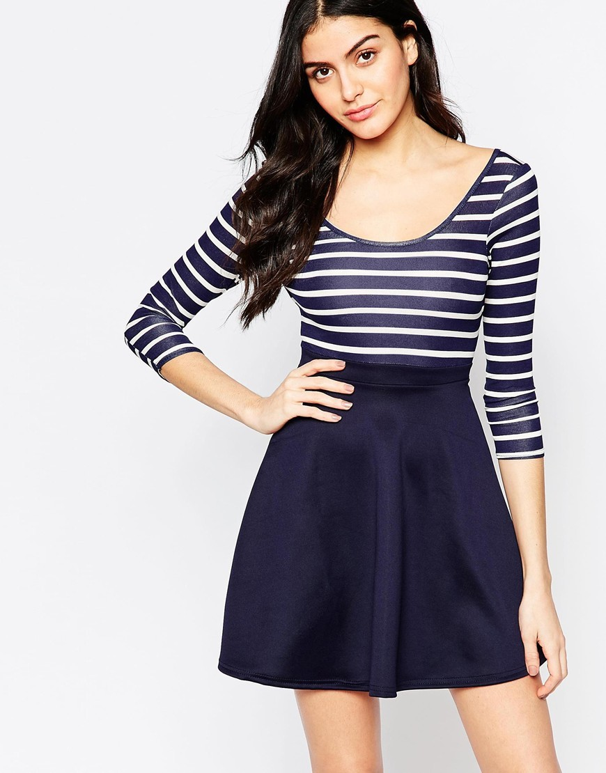 Cross Back Skater Dress With Stripe Top And Contrast Skirt Navy Top/Navy Skirt - length: mid thigh; pattern: horizontal stripes; secondary colour: white; predominant colour: navy; occasions: casual; fit: fitted at waist & bust; style: fit & flare; neckline: scoop; fibres: polyester/polyamide - stretch; sleeve length: 3/4 length; sleeve style: standard; pattern type: fabric; texture group: jersey - stretchy/drapey; season: a/w 2015; wardrobe: basic