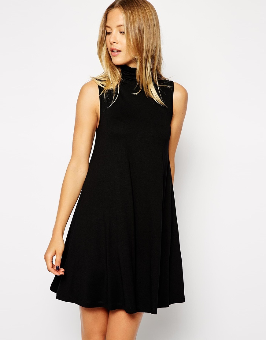 Sleeveless Swing Dress With Polo Neck Black - style: shift; length: mid thigh; pattern: plain; sleeve style: sleeveless; neckline: high neck; predominant colour: black; occasions: evening; fit: soft a-line; fibres: viscose/rayon - stretch; sleeve length: sleeveless; pattern type: fabric; texture group: jersey - stretchy/drapey; season: a/w 2015; wardrobe: event