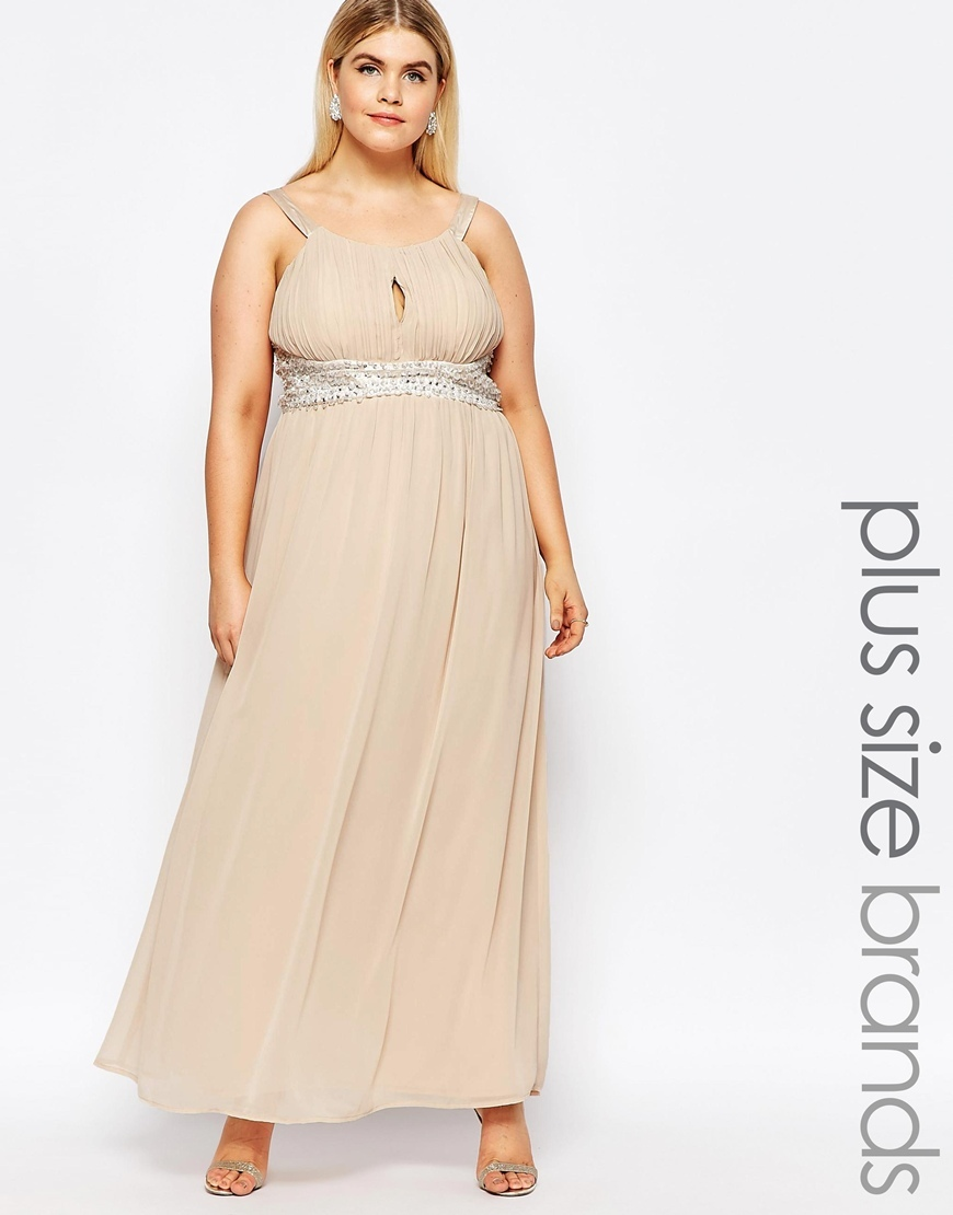 Plus Maxi Dress With Embellishment Champagne - sleeve style: spaghetti straps; fit: fitted at waist; pattern: plain; style: maxi dress; length: ankle length; waist detail: embellishment at waist/feature waistband; predominant colour: nude; occasions: evening, occasion; neckline: scoop; fibres: polyester/polyamide - 100%; hip detail: soft pleats at hip/draping at hip/flared at hip; sleeve length: sleeveless; texture group: sheer fabrics/chiffon/organza etc.; pattern type: fabric; season: a/w 2015