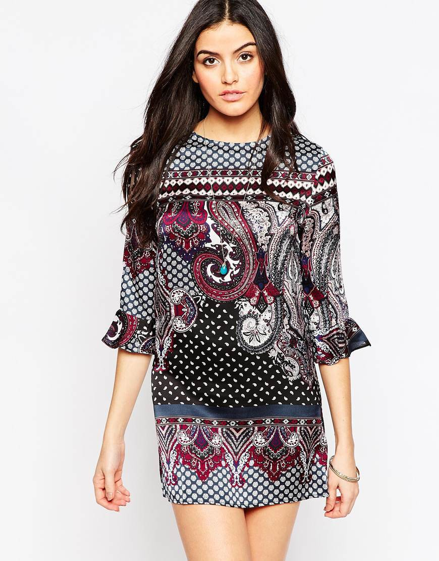 Printed Shift Dress With Frill Sleeves Multi - style: shift; length: mini; sleeve style: bell sleeve; pattern: paisley; secondary colour: burgundy; predominant colour: black; occasions: evening; fit: body skimming; fibres: polyester/polyamide - 100%; neckline: crew; sleeve length: 3/4 length; pattern type: fabric; texture group: woven light midweight; multicoloured: multicoloured; season: a/w 2015