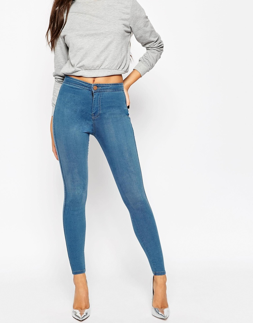 Rivington High Waist Denim Jeggings In Orchid Wash Midwash Blue - length: standard; pattern: plain; style: jeggings; waist: mid/regular rise; predominant colour: denim; occasions: casual; fibres: cotton - stretch; texture group: denim; pattern type: fabric; season: a/w 2015; wardrobe: basic
