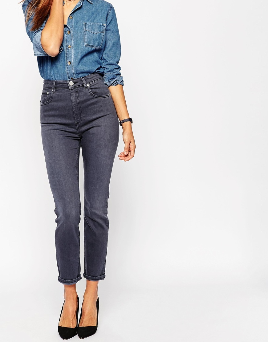 Farleigh Slim Mom Jeans In Walnut Grey Wash Walnut Grey Wash - length: standard; pattern: plain; waist: high rise; pocket detail: traditional 5 pocket; style: tapered; predominant colour: charcoal; occasions: casual; fibres: cotton - stretch; texture group: denim; pattern type: fabric; season: a/w 2015; wardrobe: highlight