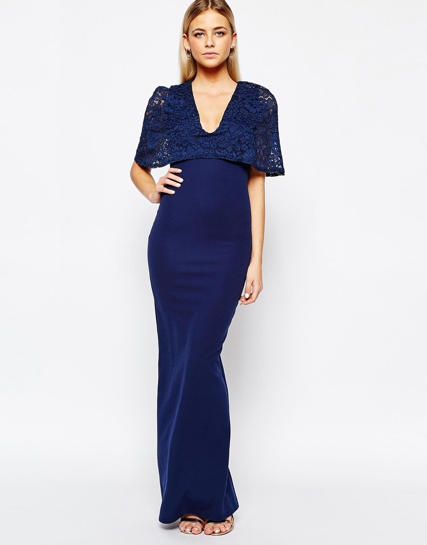 Kimono Sleeve Maxi Dress With Lace Overlay Navy - neckline: low v-neck; fit: tight; pattern: plain; style: maxi dress; bust detail: added detail/embellishment at bust; predominant colour: navy; occasions: evening; length: floor length; fibres: polyester/polyamide - stretch; sleeve style: cape sleeve; sleeve length: half sleeve; texture group: jersey - clingy; pattern type: fabric; embellishment: lace; season: a/w 2015; wardrobe: event