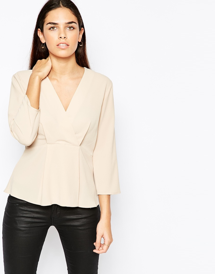 Wrap Front Minimal Blouse In Crepe Champagne - neckline: v-neck; pattern: plain; style: wrap/faux wrap; predominant colour: blush; occasions: evening; length: standard; fibres: polyester/polyamide - stretch; fit: body skimming; sleeve length: long sleeve; sleeve style: standard; texture group: crepes; pattern type: fabric; season: a/w 2015; wardrobe: event