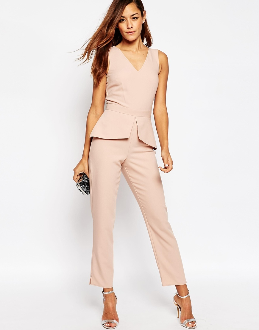 Jumpsuit With Peplum Detail Nude - length: standard; neckline: v-neck; fit: tailored/fitted; pattern: plain; sleeve style: sleeveless; waist detail: peplum waist detail; predominant colour: blush; occasions: evening; fibres: polyester/polyamide - stretch; sleeve length: sleeveless; style: jumpsuit; pattern type: fabric; texture group: jersey - stretchy/drapey; season: a/w 2015; wardrobe: event