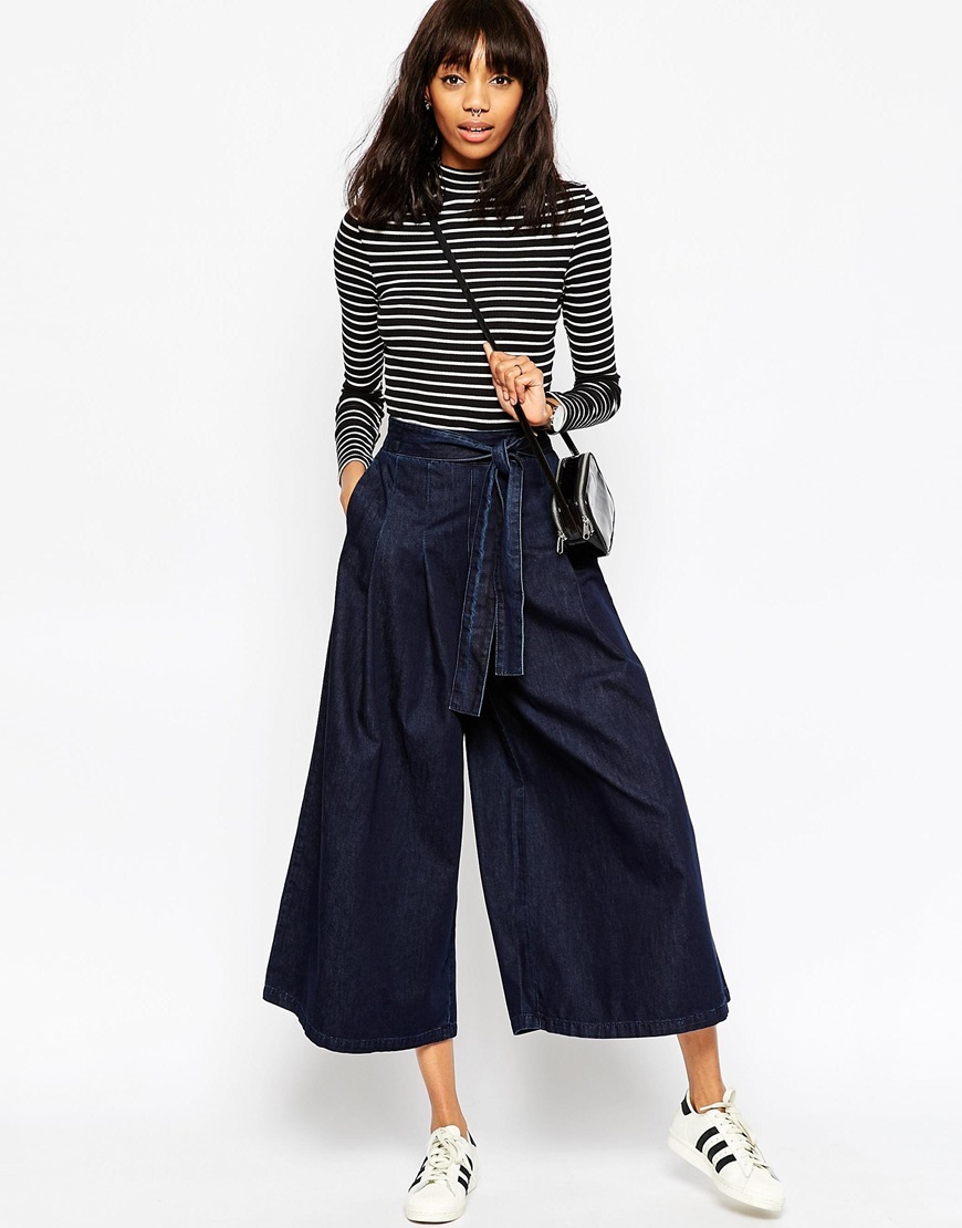 Denim Super Wide Leg Jeans With Tie Waist In Indigo Indigo - pattern: plain; style: baggy; waist: mid/regular rise; predominant colour: navy; occasions: casual; length: calf length; fibres: cotton - 100%; texture group: denim; pattern type: fabric; season: a/w 2015; wardrobe: basic