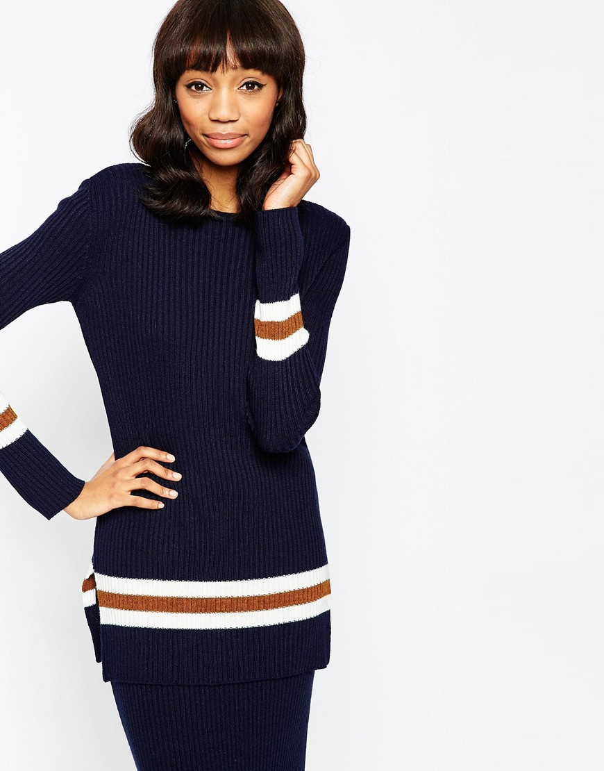 Co Ord Jumper In Rib With Striped Trims Navy - pattern: horizontal stripes; style: standard; secondary colour: white; predominant colour: navy; occasions: casual; length: standard; fibres: acrylic - 100%; fit: slim fit; neckline: crew; sleeve length: long sleeve; sleeve style: standard; texture group: knits/crochet; pattern type: fabric; multicoloured: multicoloured; season: a/w 2015; wardrobe: highlight; embellishment: contrast fabric; embellishment location: hip