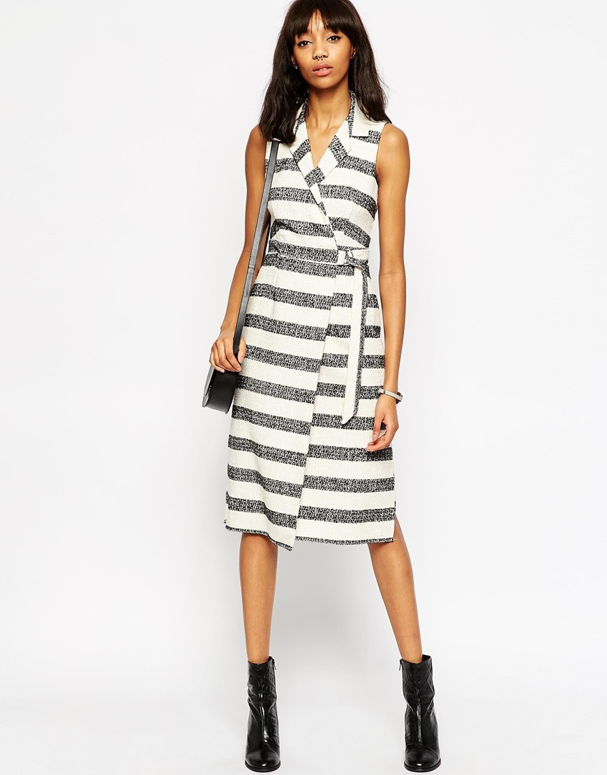 Premium Textured Stripe D Ring Wrap Dress Stripe - style: faux wrap/wrap; length: below the knee; neckline: v-neck; pattern: horizontal stripes; sleeve style: sleeveless; waist detail: belted waist/tie at waist/drawstring; predominant colour: white; secondary colour: mid grey; occasions: casual; fit: body skimming; fibres: cotton - mix; sleeve length: sleeveless; pattern type: fabric; texture group: other - light to midweight; multicoloured: multicoloured; season: a/w 2015; wardrobe: basic