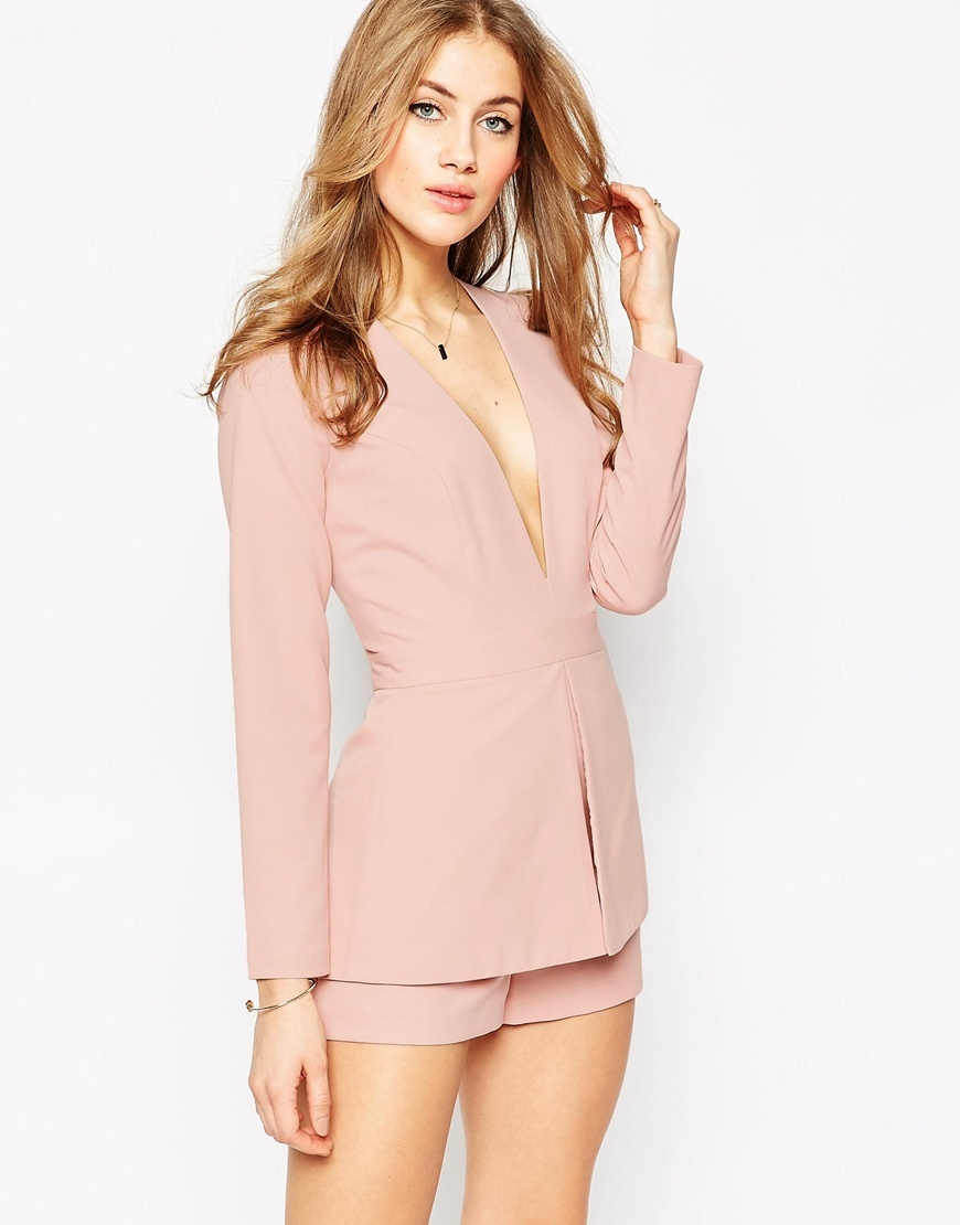 Plunge Playsuit With Peplum Detail Nude - neckline: plunge; fit: tailored/fitted; pattern: plain; waist detail: peplum waist detail; length: short shorts; predominant colour: blush; occasions: evening, occasion; fibres: polyester/polyamide - mix; sleeve length: long sleeve; sleeve style: standard; texture group: crepes; style: playsuit; pattern type: fabric; season: a/w 2015