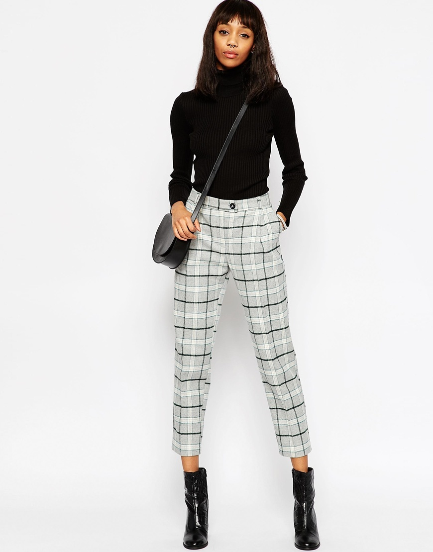 Premium Check Boyfriend Peg Trousers Grey - pattern: checked/gingham; style: peg leg; waist: high rise; pocket detail: pockets at the sides; predominant colour: white; secondary colour: mid grey; occasions: casual, creative work; length: ankle length; fibres: acrylic - mix; hip detail: subtle/flattering hip detail; trends: monochrome; fit: tapered; pattern type: fabric; texture group: other - light to midweight; pattern size: standard (bottom); season: a/w 2015; wardrobe: highlight
