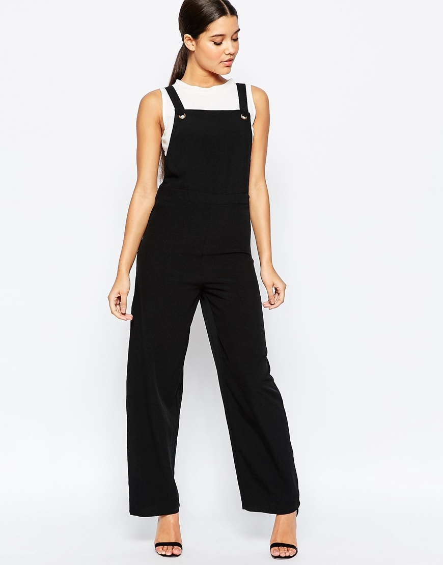 Utility Dungaree Style Jumpsuit Black - length: standard; pattern: plain; sleeve style: sleeveless; predominant colour: black; occasions: casual, creative work; fit: body skimming; fibres: polyester/polyamide - 100%; sleeve length: sleeveless; style: jumpsuit; neckline: medium square neck; pattern type: fabric; texture group: other - light to midweight; season: a/w 2015