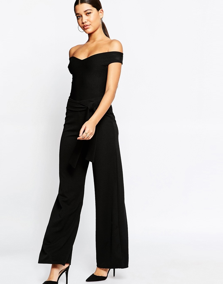 Tie Waist Wide Leg Trouser Black - length: standard; pattern: plain; waist: high rise; predominant colour: black; occasions: evening; fibres: polyester/polyamide - stretch; texture group: crepes; fit: wide leg; pattern type: fabric; style: standard; season: a/w 2015; wardrobe: event