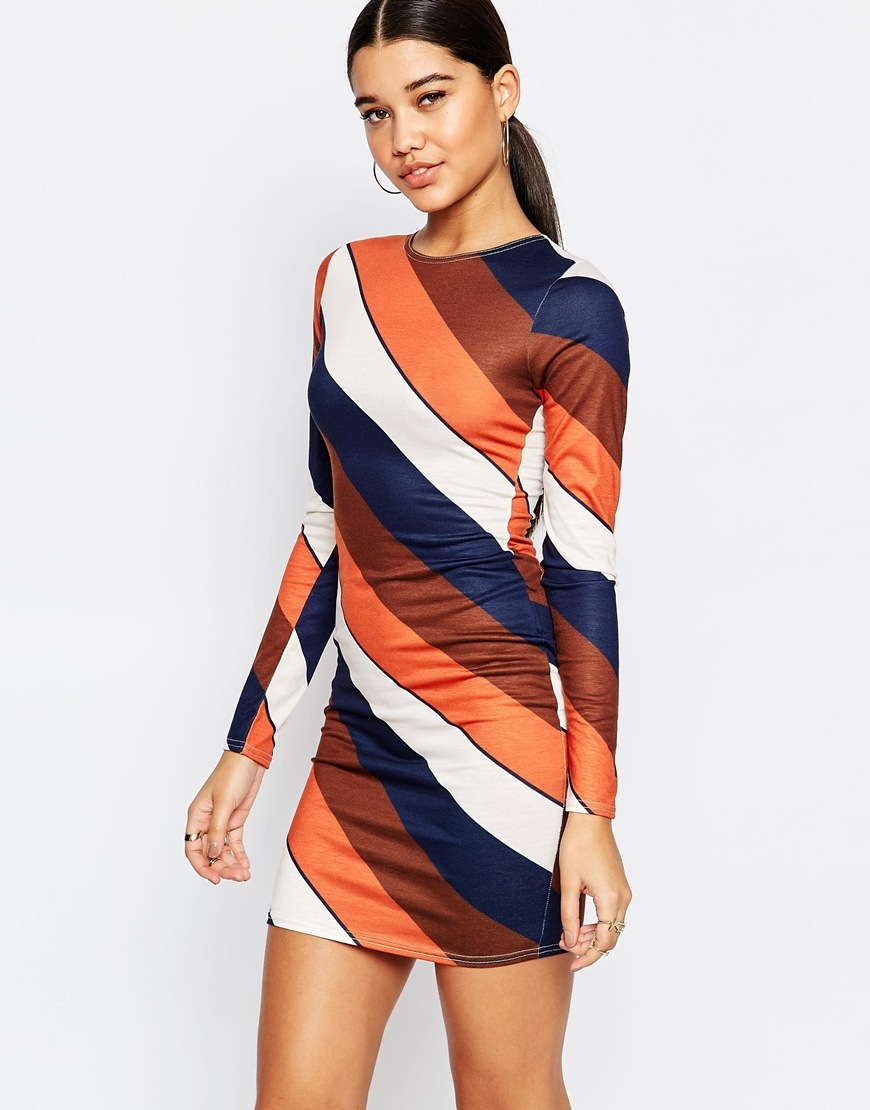 Stripe Longsleeve Bodycon Dress Multi - length: mini; fit: tight; style: bodycon; pattern: striped; secondary colour: navy; predominant colour: bright orange; occasions: evening; fibres: polyester/polyamide - stretch; neckline: crew; sleeve length: long sleeve; sleeve style: standard; texture group: jersey - clingy; pattern type: fabric; multicoloured: multicoloured; season: a/w 2015; wardrobe: event