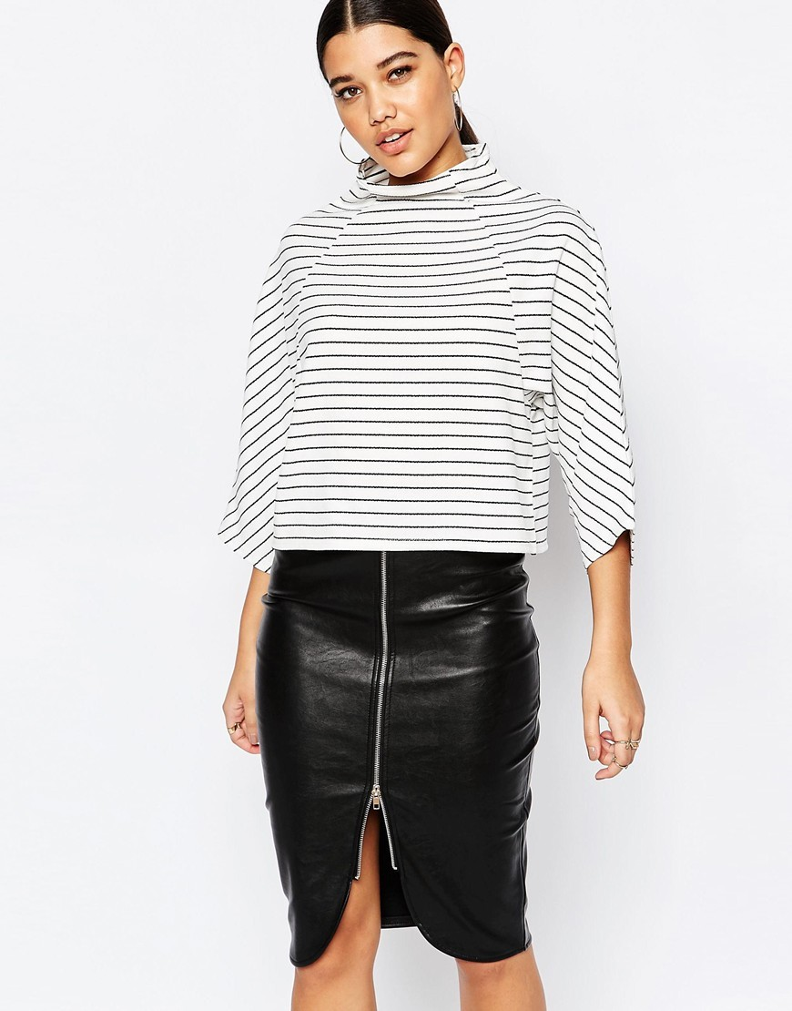 Structured High Neck Top White - sleeve style: dolman/batwing; pattern: horizontal stripes; neckline: high neck; predominant colour: white; secondary colour: black; occasions: casual, creative work; length: standard; style: top; fibres: polyester/polyamide - mix; fit: straight cut; sleeve length: 3/4 length; pattern type: fabric; texture group: jersey - stretchy/drapey; pattern size: big & busy (top); season: a/w 2015; wardrobe: basic